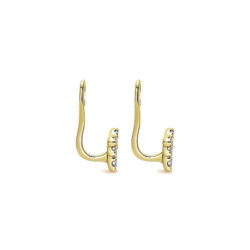 14k Yellow Gold Gemini Earrings Enhancer Earrings angle 3