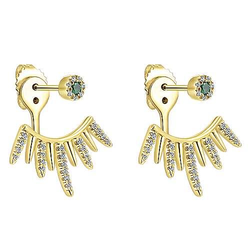 14k Yellow Gold Gemini Earrings Peek A Boo Earrings angle 2