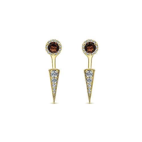 Gabriel - 14k Yellow Gold Gemini Earrings Peek A Boo Earrings