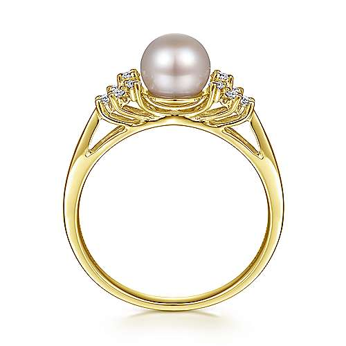 14k Yellow Gold Grace Classic Ladies' Ring angle 2