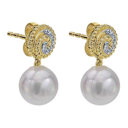 14k Yellow Gold Grace Drop Earrings angle 2