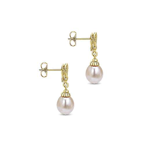 14k Yellow Gold Grace Drop Earrings angle 3
