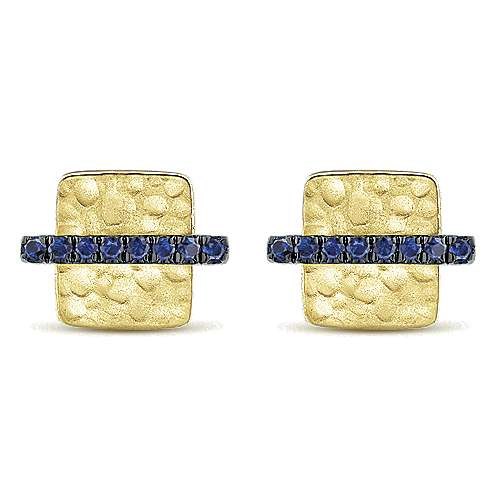 Gabriel - 14k Yellow Gold Hammered Square Sapphire Bar Stud Earrings