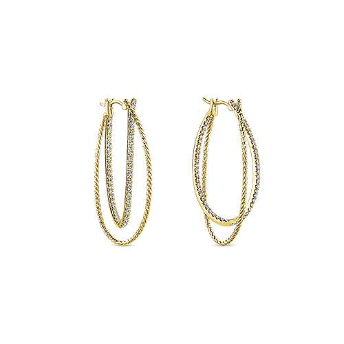 14k Yellow Gold Hampton Classic Hoop Earrings angle 3