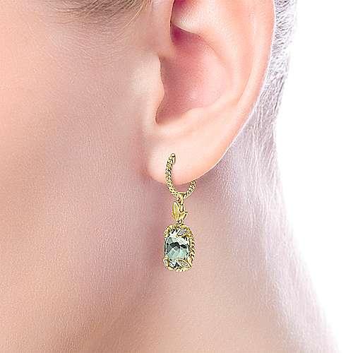 14k Yellow Gold Hampton Drop Earrings angle 2