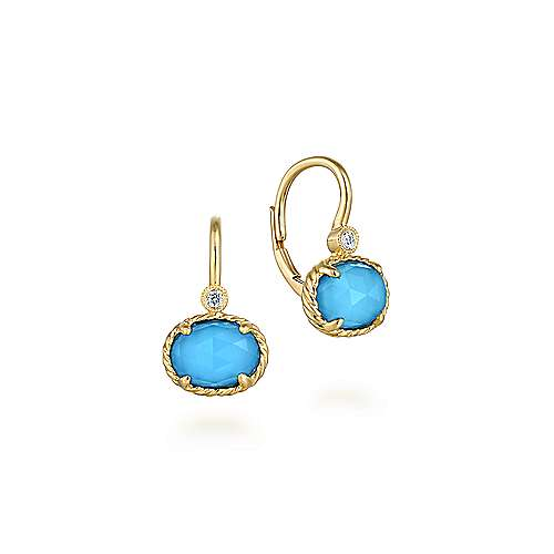 14k Yellow Gold Hampton Drop Earrings