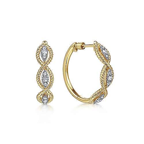 14k Yellow Gold Hampton Intricate Hoop Earrings