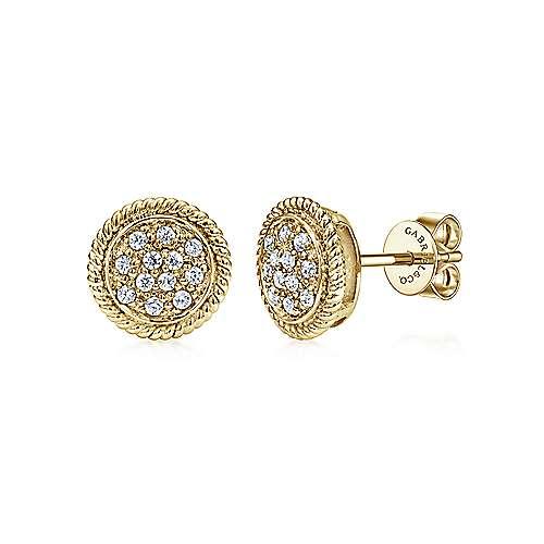 14k Yellow Gold Hampton Stud Earrings angle 1