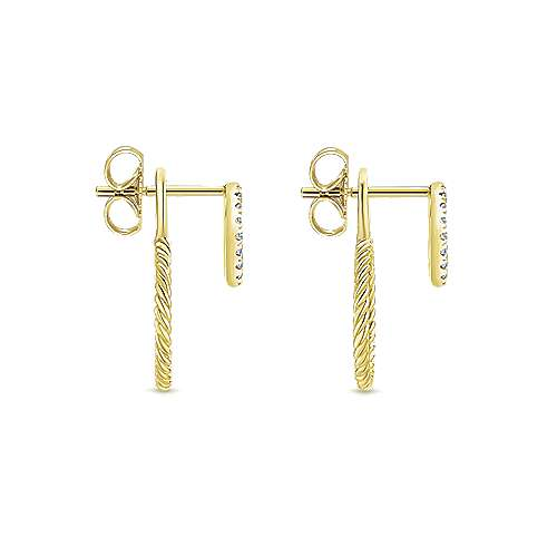 14k Yellow Gold Hampton Stud Earrings angle 3