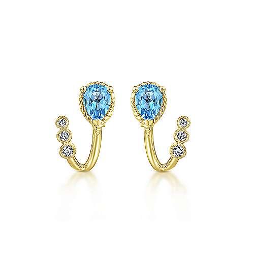 14k Yellow Gold Hampton Stud Earrings angle 3