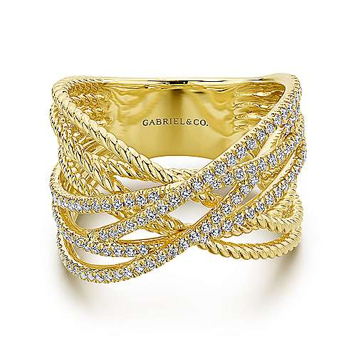 Gabriel - 14k Yellow Gold Hampton Twisted Ladies' Ring