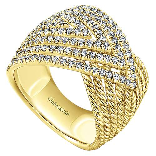 14k Yellow Gold Hampton Wide Band Ladies' Ring angle 3