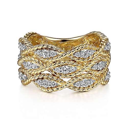 14k Yellow Gold Hampton Wide Band Ladies' Ring