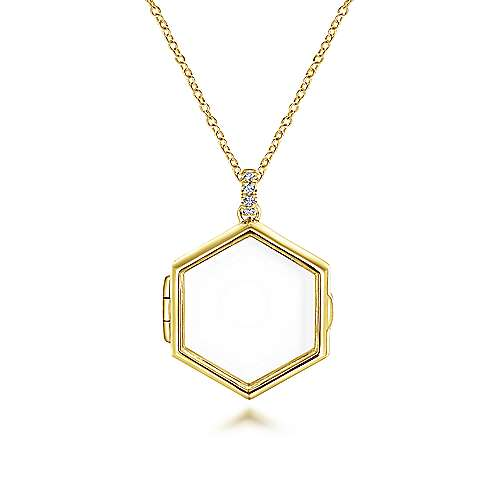 14k Yellow Gold Hexagonal Glass Front Locket Necklace