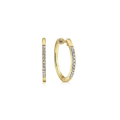 14k Yellow Gold Hoops Classic Hoop Earrings angle 1