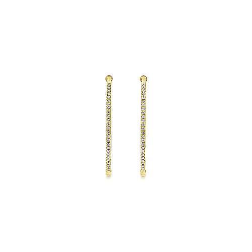 14k Yellow Gold Hoops Classic Hoop Earrings angle 3