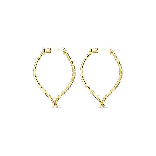 14k Yellow Gold Hoops Classic Hoop Earrings angle 2