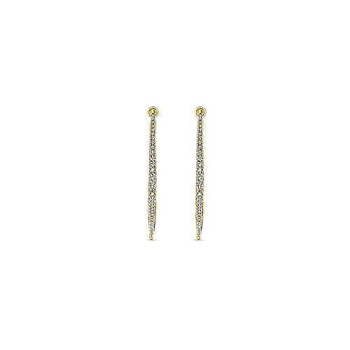 14k Yellow Gold Hoops Classic Hoop Earrings angle 3