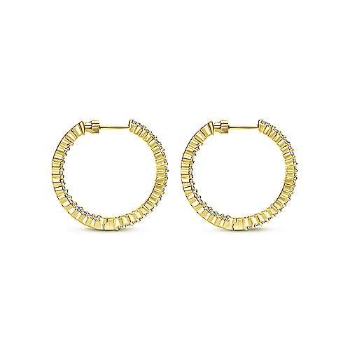 14k Yellow Gold Hoops Classic Hoop Earrings angle 2