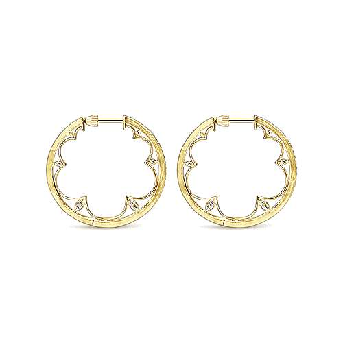 14k Yellow Gold Hoops Intricate Hoop Earrings angle 2