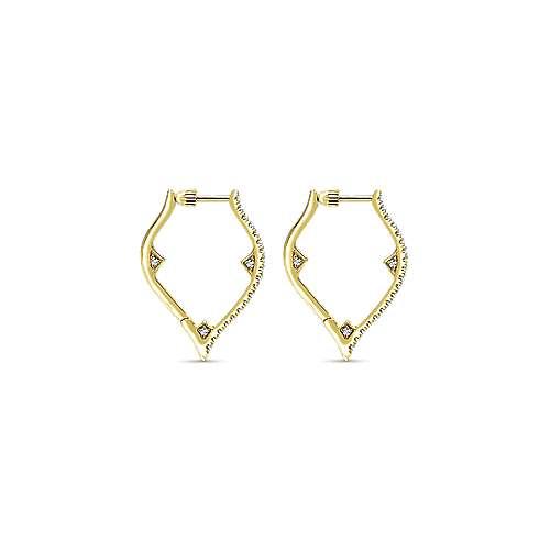 14k Yellow Gold Hoops Intricate Hoop Earrings angle 2