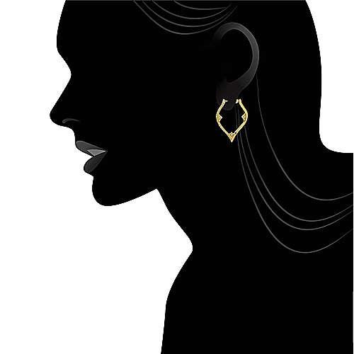 14k Yellow Gold Hoops Intricate Hoop Earrings angle 4