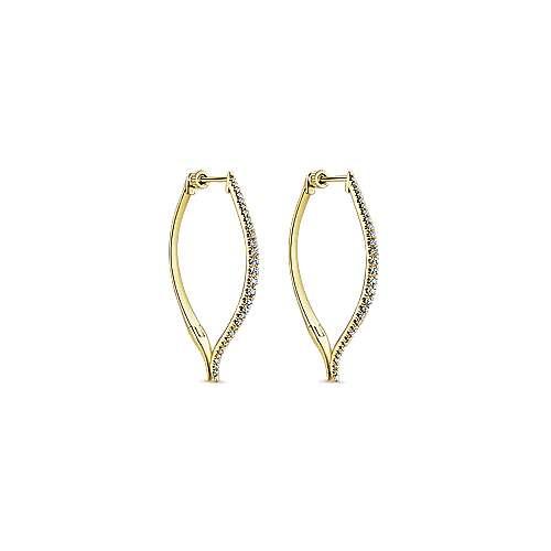 14k Yellow Gold Hoops Intricate Hoop Earrings angle 1
