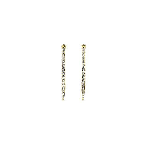 14k Yellow Gold Hoops Intricate Hoop Earrings angle 3
