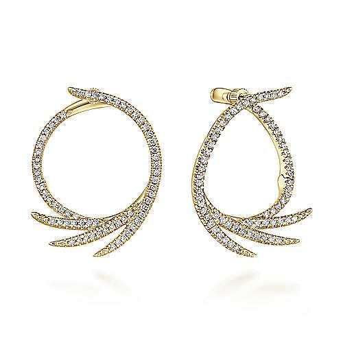 Gabriel - 14k Yellow Gold Hoops Intricate Hoop Earrings