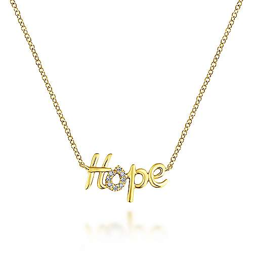 14k Yellow Gold Hope Fashion Necklace