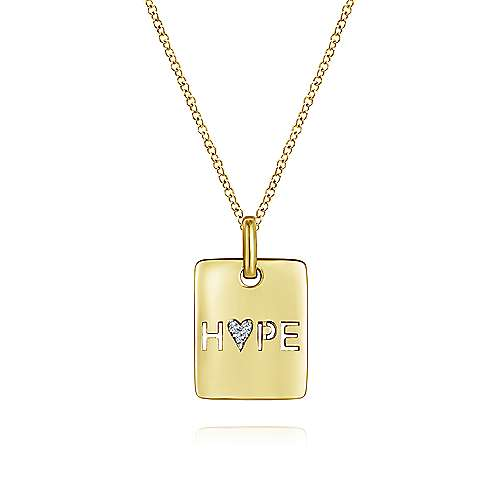 14k Yellow Gold Hope Fashion Necklace angle 1