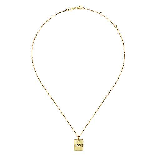 14k Yellow Gold Hope Fashion Necklace angle 2