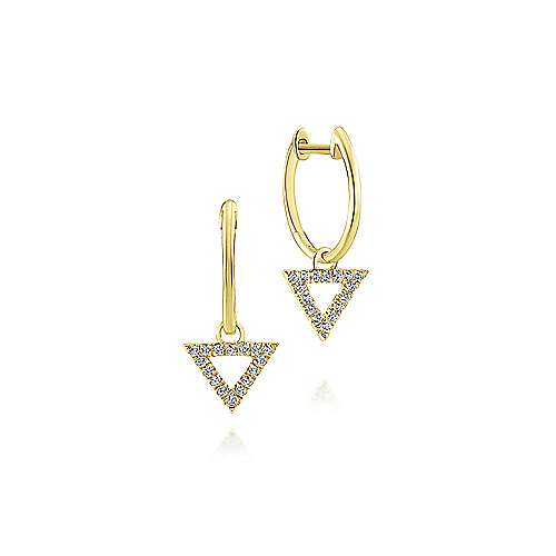 14k Yellow Gold Huggies Drop Earrings angle 1