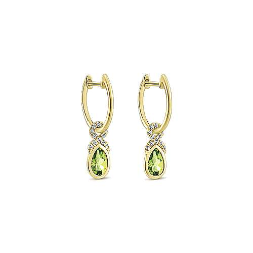 14k Yellow Gold Huggies Drop Earrings angle 2