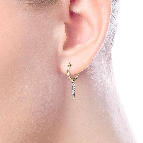 14k Yellow Gold Huggies Drop Earrings angle 2