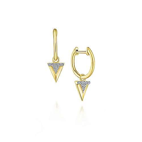 14k Yellow Gold Huggies Drop Earrings angle 1