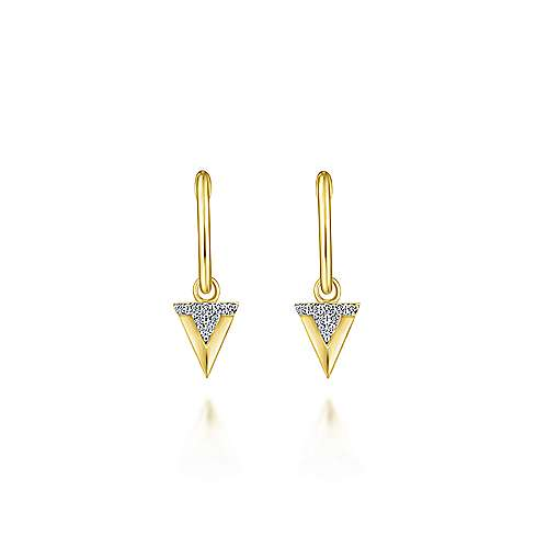 14k Yellow Gold Huggies Drop Earrings angle 3