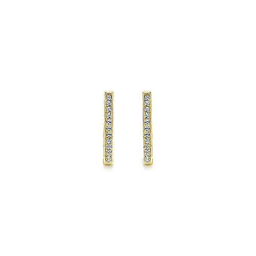 14k Yellow Gold Huggies Huggie Earrings angle 3