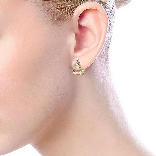 14k Yellow Gold Huggies Huggie Earrings angle 4