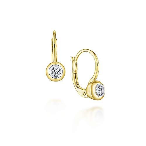 14k Yellow Gold Huggies Huggie Earrings angle 1
