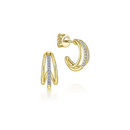 14k Yellow Gold Huggies J Curve Earrings angle 1