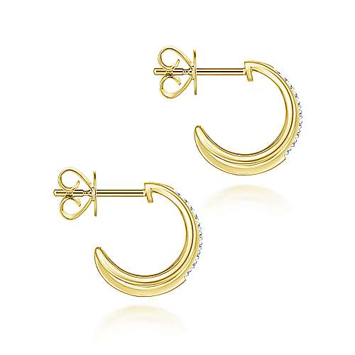 14k Yellow Gold Huggies J Curve Earrings angle 3