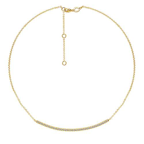 14k Yellow Gold Indulgence Bar Necklace angle 2