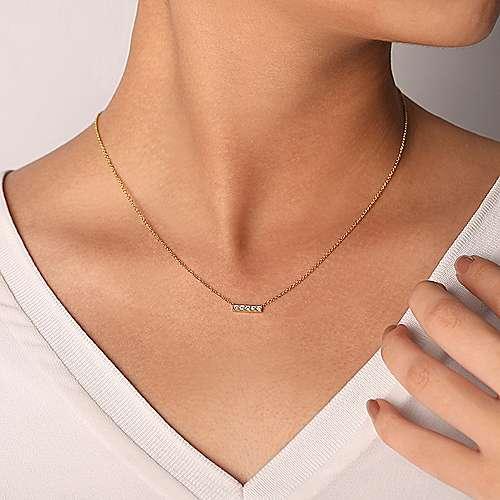 14k Yellow Gold Indulgence Bar Necklace angle 3