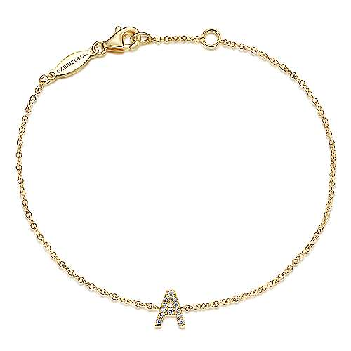 14k Yellow Gold Initial Bracelet angle 1