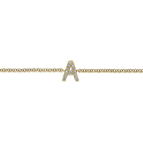14k Yellow Gold Initial Bracelet angle 2
