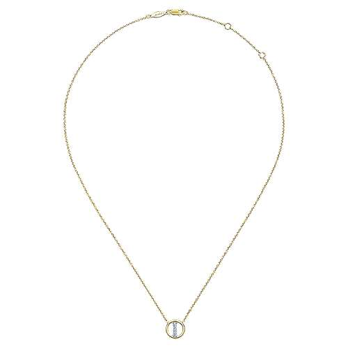 14k Yellow Gold Initial Necklace angle 2