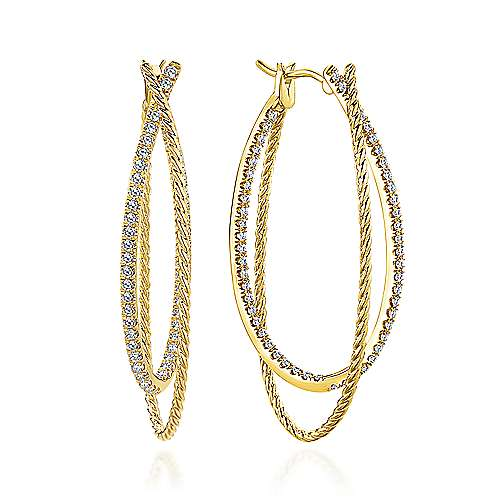 14k Yellow Gold Intricate Twisted Diamond Double Hoop Earrings angle 1