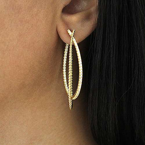 14k Yellow Gold Intricate Twisted Diamond Double Hoop Earrings angle 2