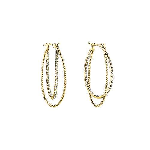 14k Yellow Gold Intricate Twisted Diamond Double Hoop Earrings angle 3